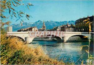 Moderne Karte Grenoble Ville Olympique Pont Marius Gontard Le clocher Saint Andre et la Chaine de Belledonne