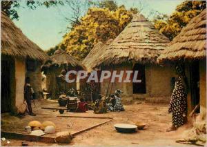 Moderne Karte Afrique en Couleurs Village Africain