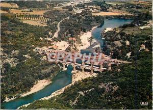 Moderne Karte Le Pont du Gard Reflets de Provence Vue Aerienne Aqueduc Romain