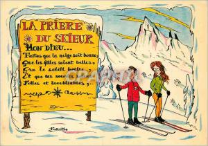 Moderne Karte Image de Chez nous en Hiver La Priere du Skieur