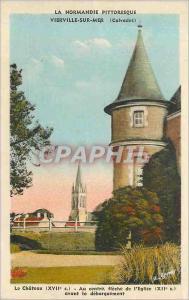 Ansichtskarte AK Vilerville sur Mer Calvados Le Chateau Au centre fleche de l Eglise