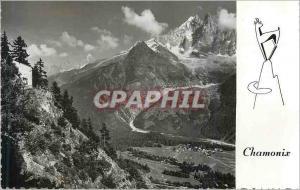 Moderne Karte Chamonix (Haute Savoie) Alt 1050 m L'Aiguille Verte L'Aiguille sans Nom et L'Aiguille du Dru