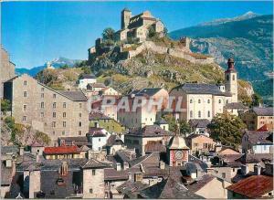 Moderne Karte Sion Valais le Chateau de Valere et la Vieille Ville