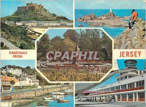 Moderne Karte Greetings from Jersey