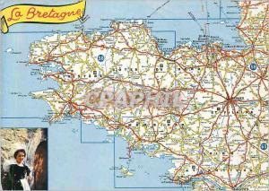 Moderne Karte La Bretagne Les Departements Bretons Enfonce Comme un Coin de Pierre au Coeur de l'Ocean