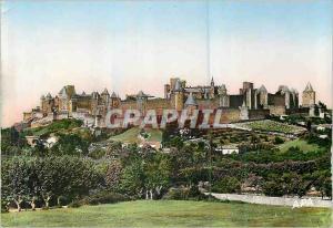 Moderne Karte Carcassonne (Aude) La Cite vue de l'Aude