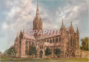 Moderne Karte Salisbury Cathedral from the Northwest Oil Painting by Michael Rhys Jenkins