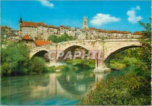 Moderne Karte Fribourg Vue Partielle avec Pont Romain