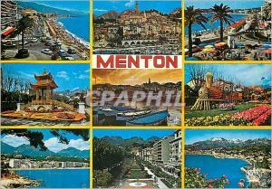 Moderne Karte Menton Souvenir de la Cote d'Azur La Perle de France Train