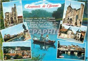 Moderne Karte Souvenir de l'Yonne Peche Avallon Chablis Joigny Sens Auxerre Tonnerre