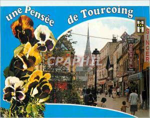 Moderne Karte Tourcoing (Nord) France Rue Pietonne