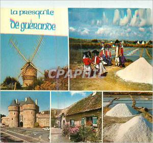Moderne Karte La Presqu'Ile de Guerande Couleurs de Bretagne Le Moulin du Diable La Porte St Michel Folklore