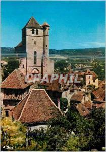 Moderne Karte Saint Cirq Lapopie (Lot) L'Eglise (XVe S) et le Village Classe Premier Village de France Beaux A