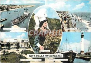 Moderne Karte Riva bella ouistreham L'Astree entrant au port Le port et le phare
