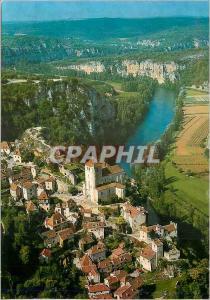 Moderne Karte En Parcourant le Lot St Cirq La Popie Vue Generale Aerienne