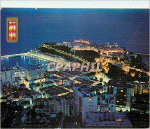 Moderne Karte Principaute de Monaco Le Port et le rocher de nuit