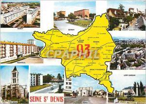 Moderne Karte Seine Saint Denis  Bondy Sevran Aulnay sous Bois Montreuil Le Raincy St Denis Epinay Clichy Livr