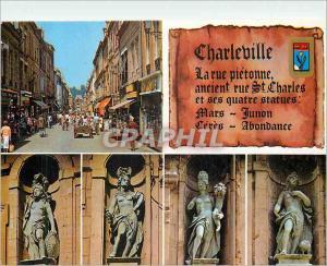 Moderne Karte Charleville Mezieres (Ardennes)France La rue Pietonne anciennement rue St Charles et ses quatre