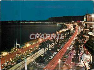 Moderne Karte La Cote d'Azur Nice La Promenade des Anglais la nuit
