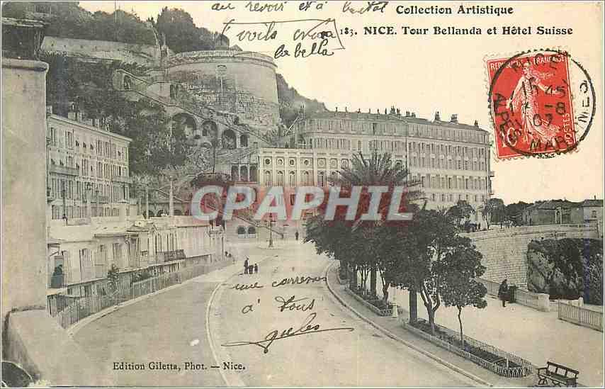 Ansichtskarte AK Nice Tour Bellanda et hôtel Suisse 0