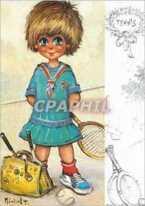 Moderne Karte Bandes Dessin�es Fille Tennis
