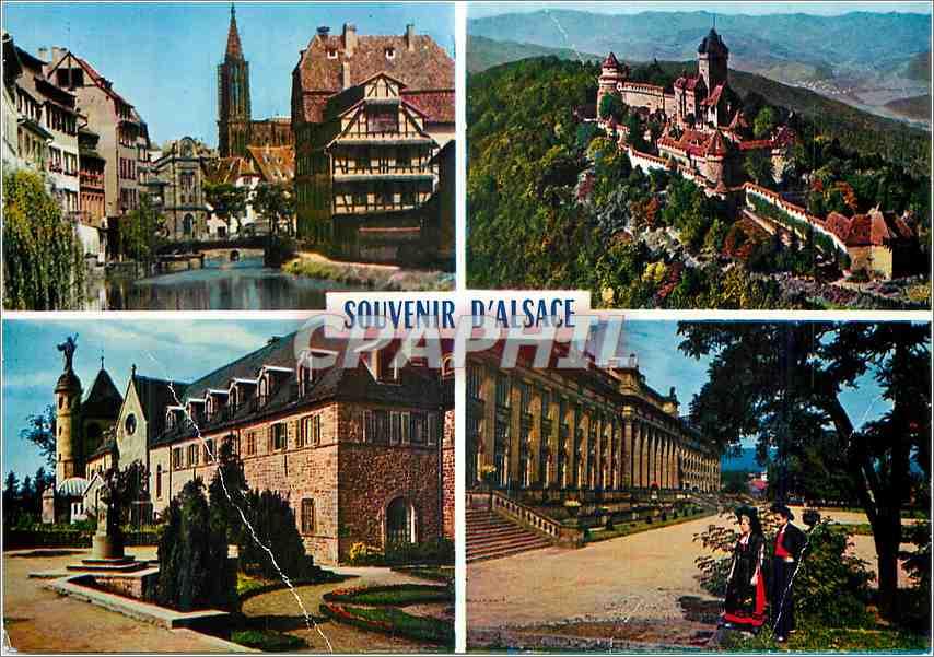 Moderne Karte Souvenir d'Alsace L'Alscace Pittoresque Strasbourg Haut Koenigsbourg Sainte Odile Saverne 0