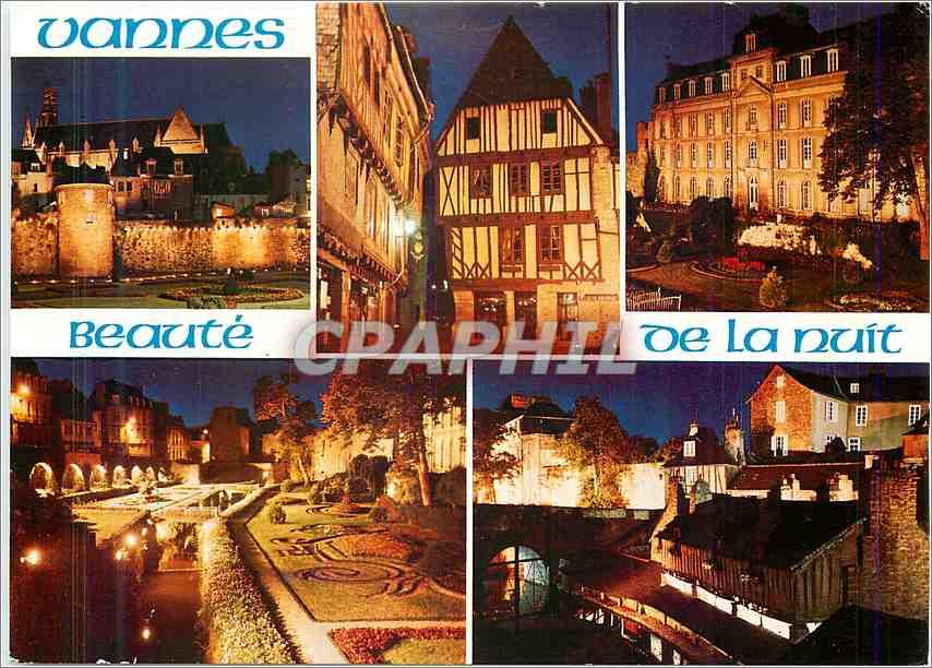 Moderne Karte Couleurs de Bretagne Vanne Les remparts et les jardins vue de nuit 0