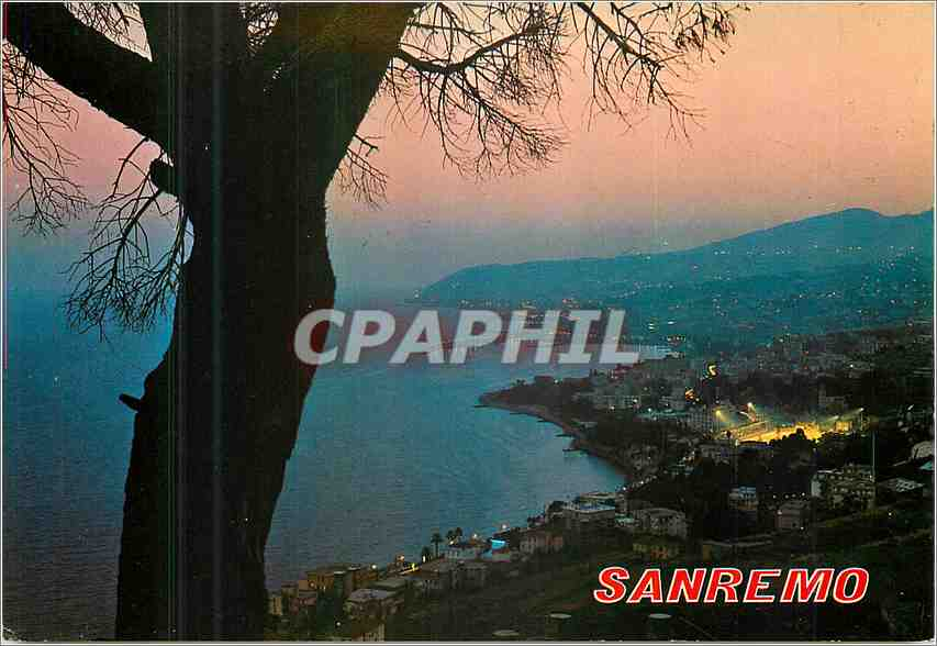 Moderne Karte Sanremo Riviere des fleurs Panorama a la nuit 0