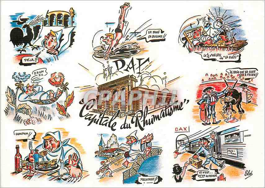 Moderne Karte Dax Capitale du Rhumatisme  (Bandes dessinees) 0