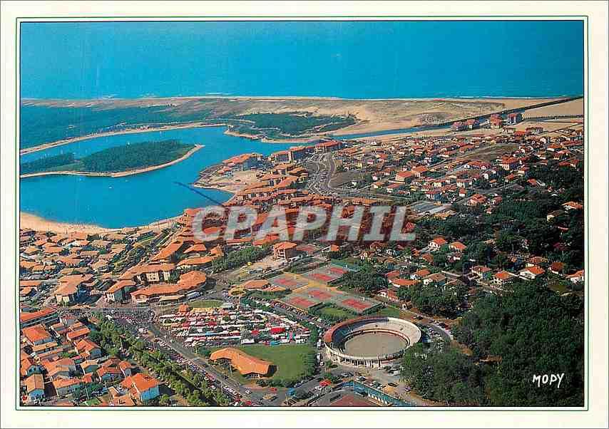 Moderne Karte La France les Landes Touristiques Vieux Boucau Port d'Albret vue aerienne 0