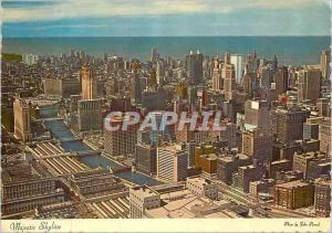 Moderne Karte Majetic Skyline An aerial view of the magnificent skycarpers which form Chicago's Skyline River