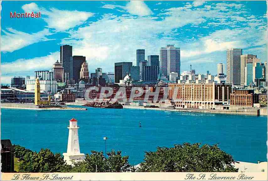 Moderne Karte Montreal le Fleuve St Laurent Au premier plan  la cour du vieux fort 0