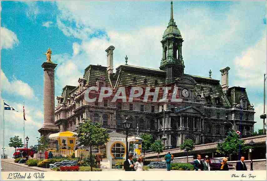 Moderne Karte L'Hotel de Ville Montreal Quebec Fut construit dans le style de celui de Paris 0