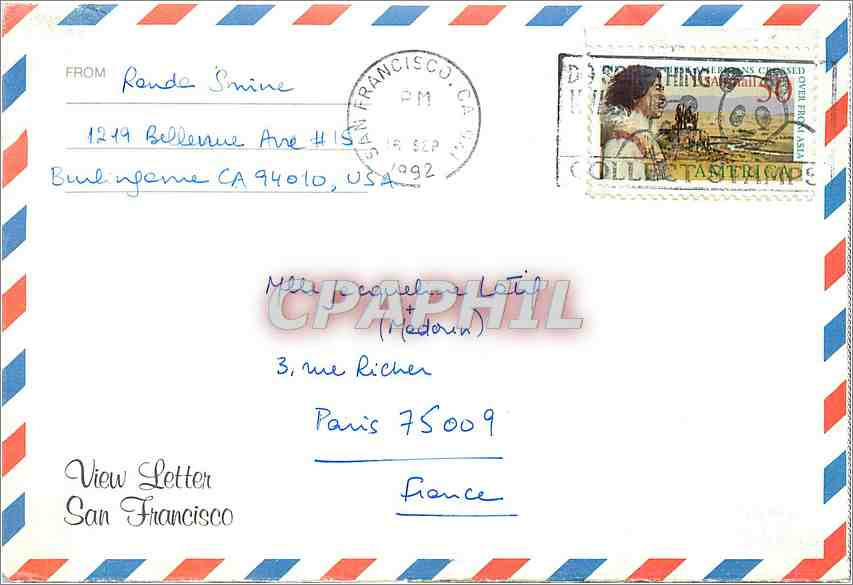 Lettre San Francisco Victorians 1992 pour Paris France illustree 0