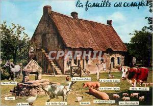 Moderne Karte La famille au complet ferme animaux Chevre Ane Donkey Vache Porc Cochon Cheval