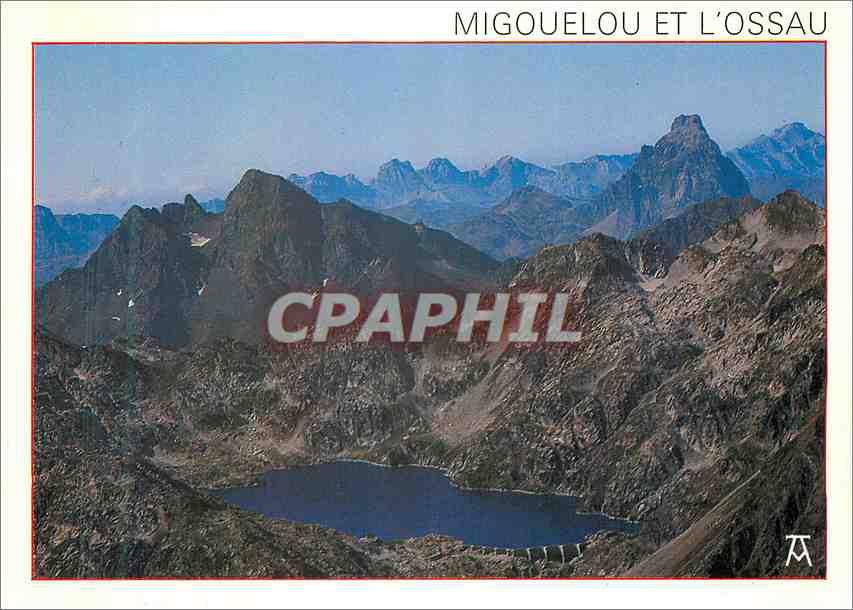 Moderne Karte Les Pyrennes Parc National des Pyrenees occidentales Le Lac de Migouelou et le Pic du Midi d'Oss 0