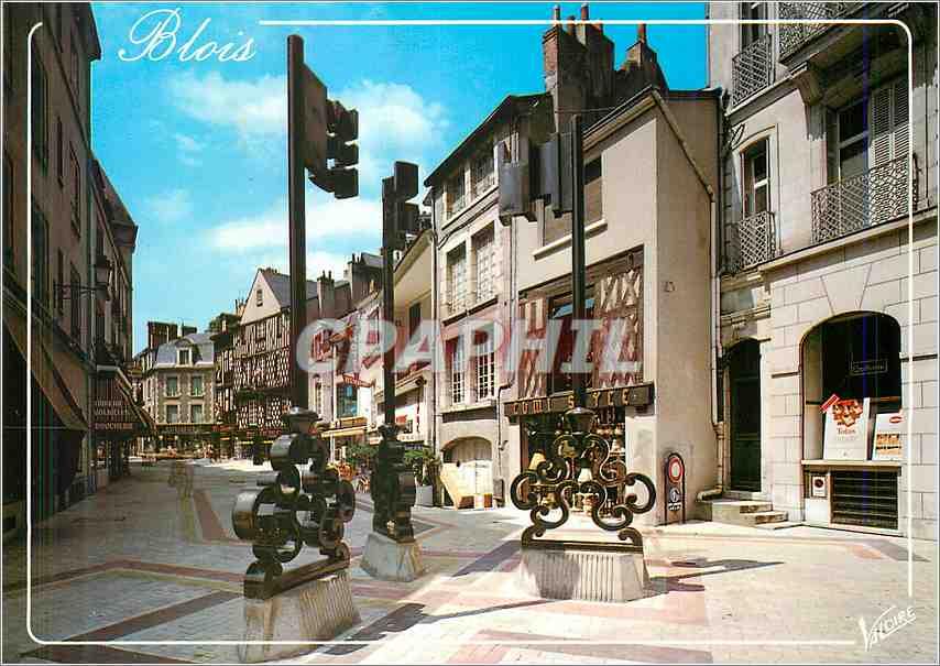 Moderne Karte Blois (Loir et Cher)La rue des Trois cles 0