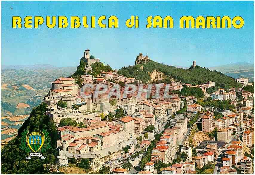 Moderne Karte Repubblica Di San Marion Les trois Tours et panorama 0