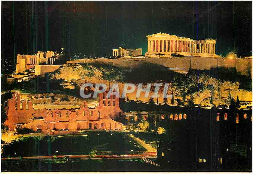 Moderne Karte Athenes L'Acropole illuminee 0