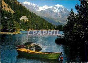 Moderne Karte Lac et station de Champex Valais avec le Grand Combin