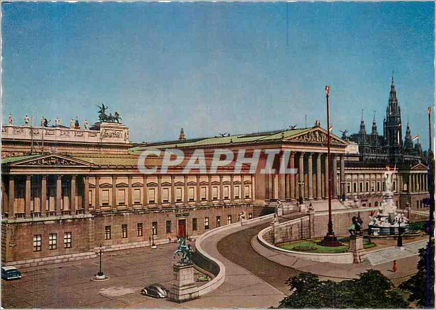 Moderne Karte Wien Parlement a l'arrier plan l'hotel de ville 0