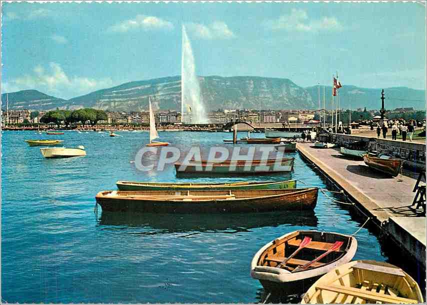 Moderne Karte Geneve La Rade Bateaux 0