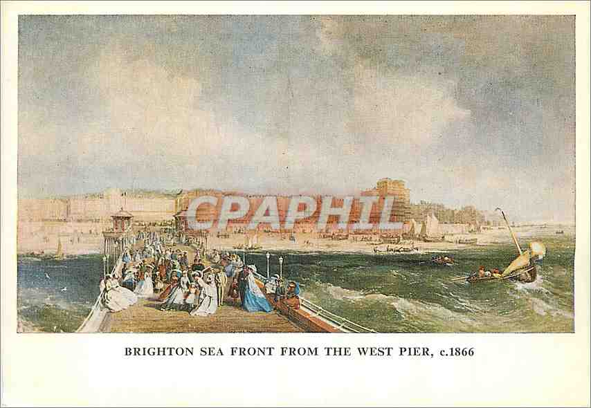 Moderne Karte Brighton sea Front From the west Pier c1866 0