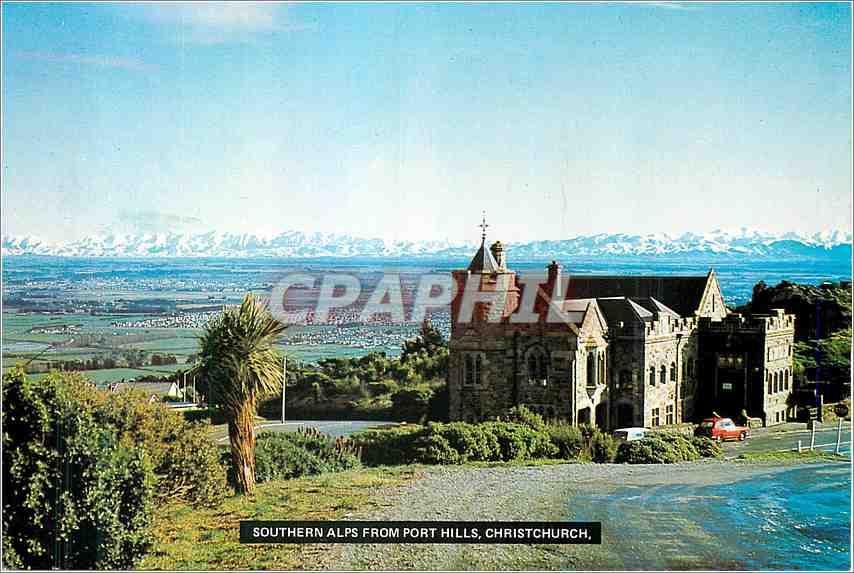 Moderne Karte Southern Alps From port Hills Christ Church New Zealand 0
