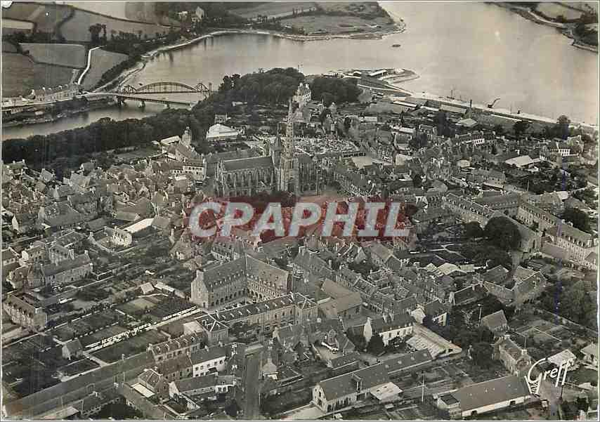 Moderne Karte En Bretagne Traguier (Cotes du Nord)Vue aerienne La Ville et la Cahedrale Les Rivieres le Jaudy 0