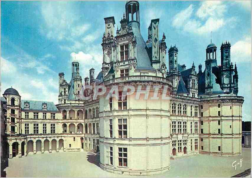 Moderne Karte Les Chateaux de la Loire Chambord (Loir et Cher)Cour Interieure 0
