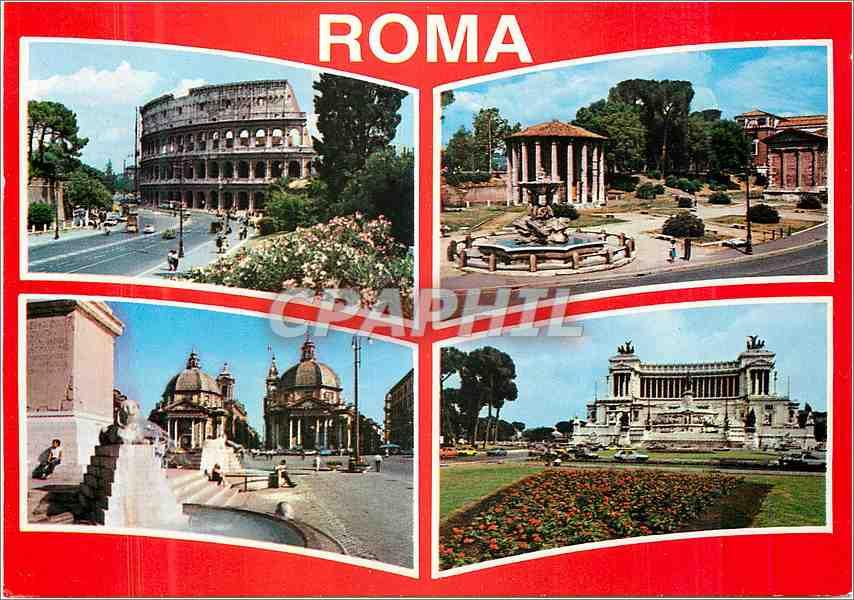 Moderne Karte Roma Colesseo Tempio di Vesta Piazza de Popolo Altare della Patria 0
