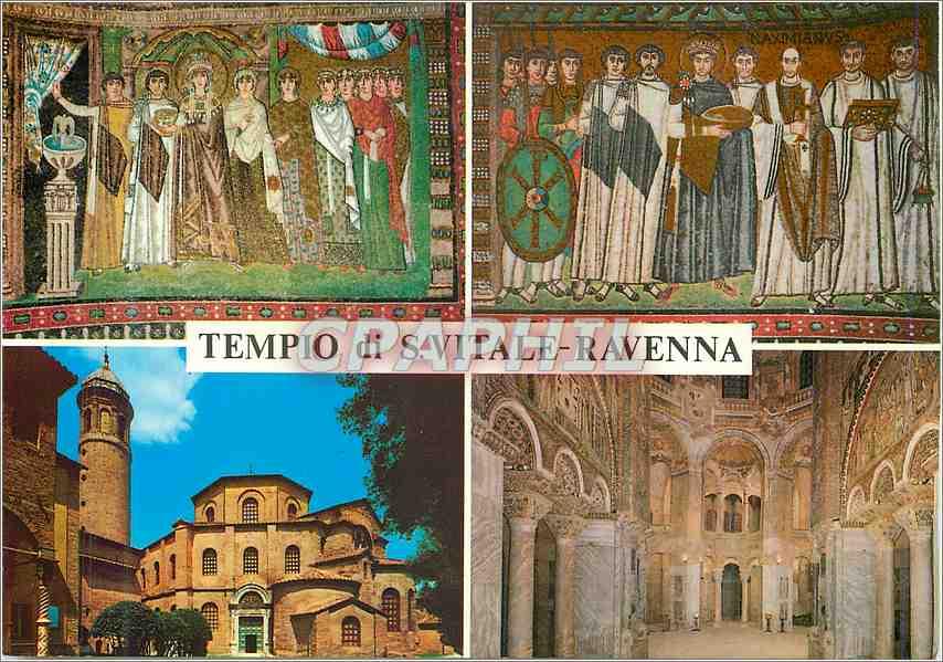 Moderne Karte Ravenna Tempio di S Vitale (VI sec)Mosaico L'Imperatore Giustiniano col Seguito 0