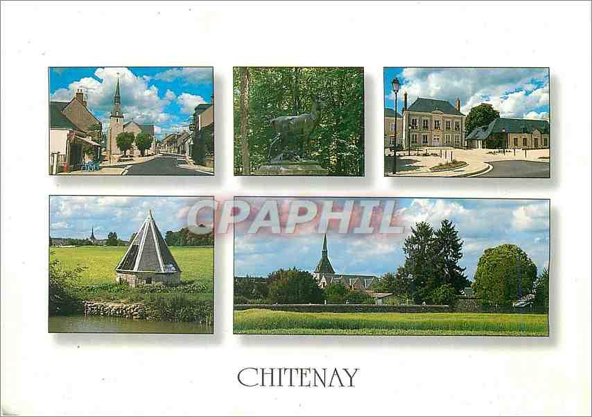 Moderne Karte Chitenay (Loir et Cher)Place de l'eglise le cerf de la Cocherie Place de la mairie vues generale 0