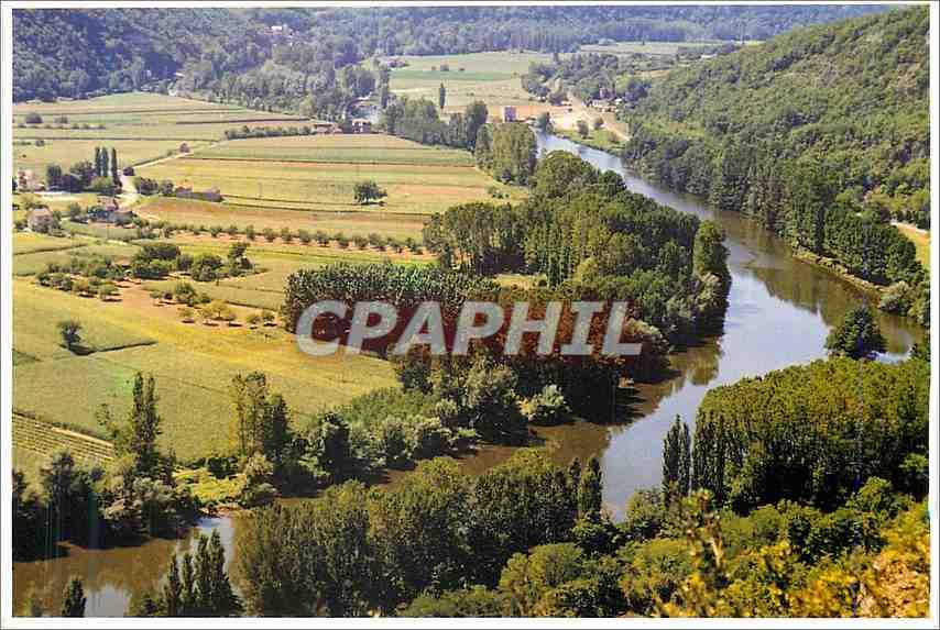 Moderne Karte Le Lot un des tres beaux panoramas qu'offre la vallee du lot traversant le Quercy 0